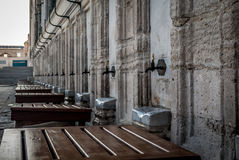 Suleymaniye Mosque in Istanbul, Turkey. Places for ritual ablution. Stock Photo