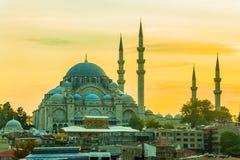 Suleymaniye Mosque. Looking towards the Suleymaniye Mosque from the Galata Bridge, Istanbul, Turkey Stock Photo