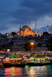 Suleymaniye Mosque at night in Eminonu, Istanbul, Turkey. Royalty Free Stock Photos