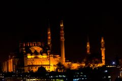 Suleymaniye mosque during the night. The famous Suleymaniye mosque lighten during the night Royalty Free Stock Images
