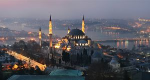 Suleymaniye Mosque Ottoman imperial mosque istanbul. Suleymaniye Mosque Ottoman imperial mosque. Cityscape of Istanbul with Golden Horn at night Stock Photography