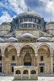 Suleymaniye Mosque, Istanbul, Turkey. The Suleymaniye Mosque is an Ottoman imperial mosque. It is the largest mosque in Istanbul, Turkeyl. View from Courtyard Royalty Free Stock Images