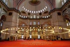 Suleymaniye Mosque. People Praying In Suleymaniye Mosque, Istanbul, Turkey Royalty Free Stock Photos