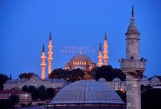 Suleymaniye mosque ramadan mahya istanbul. ISTANBUL, TURKEY - 14 JULY: Ramadan is a blessing lettering hanging on Süleymaniye Mosque mahya in Istanbul Turkey