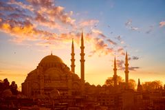 Suleymaniye mosque at sunset stock images