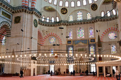 Suleymanye Mosque interior Royalty Free Stock Photography