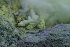 Kawah Ijen volcano on Java stock photo
