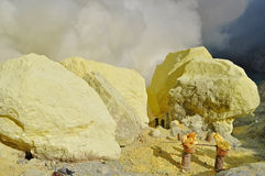 Sulful in Kawah Ijen crater Stock Image
