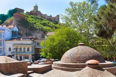 Sulfur Baths and houses of Old Town of Tbilisi, Republic of Georgia Stock Images