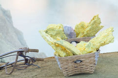 Sulfur carriers basket at Kawah Ijen volcano. Indonesia Royalty Free Stock Images