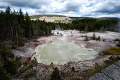 Sulfur Cauldron. Yellowstone Hotspring rich of hydrogen sulfide, smelling like rotten eggs Royalty Free Stock Photography