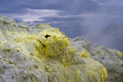 Sulfur crystals stock photo