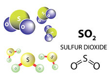 Sulfur dioxide molecule, chemical structure Royalty Free Stock Images