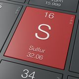 Sulfur element from periodic table Royalty Free Stock Photos