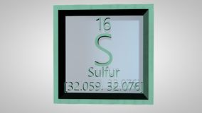 Sulfur. Element of the periodic table of the Mendeleev system. IUPAC version is dated 28 November 2016. Standard atomic weight. 3D animation alpha PNG stock video