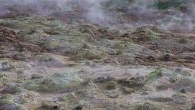 Sulfur fumaroles Hverir in Iceland stock video