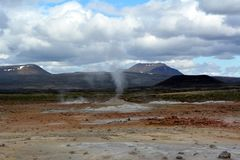The sulfur hot geysers at Hverir in Iceland.  royalty free stock image
