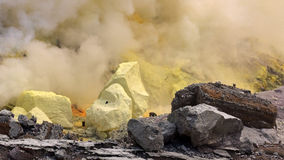 Sulfur in hot volcano Stock Photos