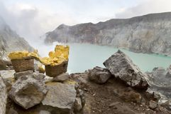 Sulfur from Ijen Crater. In West Java Indonesia Royalty Free Stock Photography