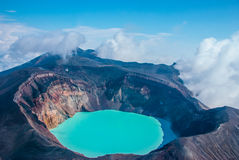 Sulfur lake in crater Royalty Free Stock Image
