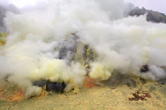 Sulfur Mine. Landscape of Sulfur Mine at Khawa Ijen Volcano Crater Java Island Indonesia royalty free stock photos