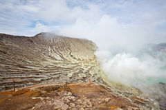 Sulfur Mine Khawa Ijen Indonesia Royalty Free Stock Photography