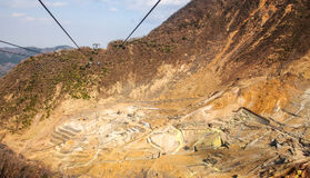 Sulfur mine. Sulfur minning in Japan from ropeway stock images