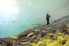 Sulfur miner kawa ijen java Stock Photo