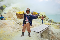 Sulfur miners Royalty Free Stock Photo