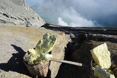 Sulfur mining on an active volcano. Sulfur blocks in basket ready for workers to carry down, sulphur on active Ijen volcano crater, Java, Indonesia Stock Photo