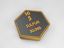 Sulfur - S - chemical element periodic table hexagonal shape. 3d illustration stock photography