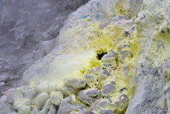 Sulfur in Sibayak volcano Stock Photography