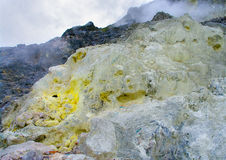 Sulfur in Sibayak volcano. Stock Photo