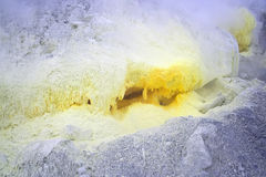 Sulfur on the slopes of the volcano Royalty Free Stock Image