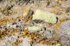 Sulfur. Soil erosion,  Mining, Environmental Damage Royalty Free Stock Photo