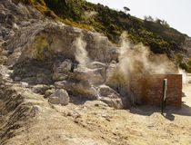 Sulfur spring near solfatara Royalty Free Stock Images