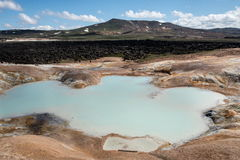Sulfur springs in Leihnjukur geothermal area, Iceland Stock Images