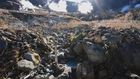 Sulfur stream at Owakudani, a volcanic valley and hot spring stock footage