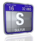 Sulfur symbol in square shape with metallic border and transparent background with reflection on the floor. 3D render. Element number 16 of the Periodic Table stock illustration