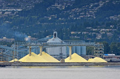 Sulfur to be shipped out of Vancouver port Stock Photography