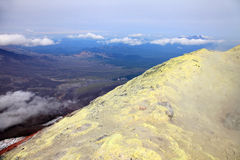 Sulfur at the top of the Avachinskiy volcano. Royalty Free Stock Images