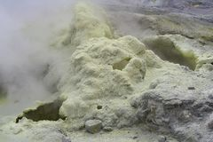 Sulfur at the top of volcano Gorely Royalty Free Stock Photography