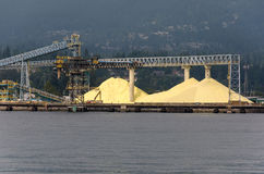 Sulfur in the Vancouver Port Royalty Free Stock Image