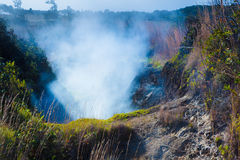 Sulfur vents. Sulfur gas vents along the trail in Hawaii Volcanoes National Park, Big Island, Hawaii royalty free stock photo