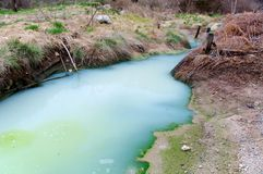 A sulfur water creek in Monterano natural park, Lazio, Italy Stock Photo