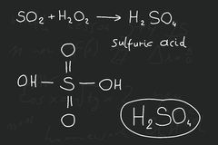 Sulfuric acid. Hand written scribble illustration - inorganic chemistry lesson. Sulfuric acid, inorganic mineral acid compound - molecule structure Royalty Free Stock Photography