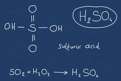 Sulfuric acid. Hand written scribble illustration - inorganic chemistry lesson. Sulfuric acid, inorganic mineral acid compound - molecule structure Stock Photo