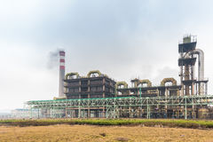 Sulfuric acid plant. Use pyrite as raw material to product sulfuric acid by combustion oxidation in the reformer Stock Photos