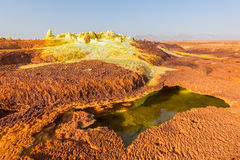 Sulfuric acid pools in Dallol in Ethiopia Stock Image