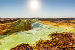 Sulfuric acid pools in Dallol in Ethiopia Royalty Free Stock Photo